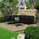 shumee 6-cz. zestaw wypoczynkowy do ogrodu, z poduszkami, PVC, czarny
