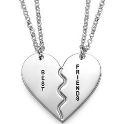 Srebrny Naszyjnik z Przełamanym Sercem dla Najlepszych Przyjaciół