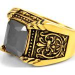 Stalowy grecki pierścień magnata w kolorze złota