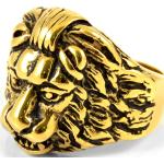 Stalowy pierścień z głową lwa