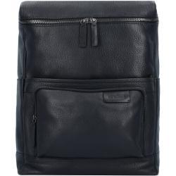 Strellson Garret Plecak biznesowy skórzany 40 cm z przegrodą na laptopa black