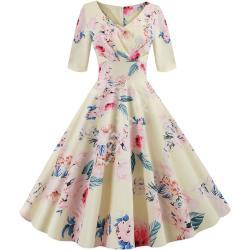 Sukienka na lato w kwiaty w stylu retro, żółta 437