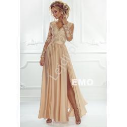 Sukienka na wesele z długim rękawem - złota wieczorowa luna