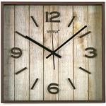 Versa 18560222 zegar ścienny kwadratowy, Ø 28 x 28 x 4 cm, vintage, brązowy, tworzywo sztuczne