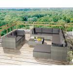 vidaXL 10-cz. zestaw wypoczynkowy do ogrodu, poduszki, rattan PE szary