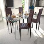 vidaXL 4 wysokie brązowe krzesła do jadalni + stół ze szklanym blatem