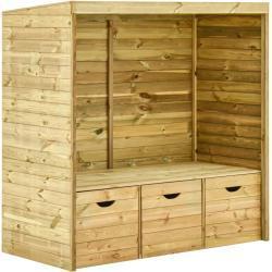 vidaXL Ławka z zadaszeniem i 3 szufladami, 170 cm, lite drewno sosnowe