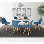 vidaXL Zestaw mebli do jadalni 7 elementów biały stół i pokryte tkaniną niebieskie krzesła