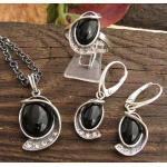 Vincola - srebrny komplet z onyksem i kryształkam
