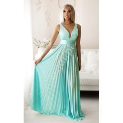 Wieczorowa sukienka plisowana w kolorze mroźnego turkusu 2247