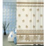 Zasłona prysznicowa Liście beżowy, 180 x 200 cm