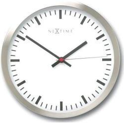 Białe Zegary do salonu eleganckie ze stali nierdzewnej marki Nextime