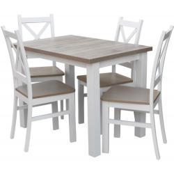 Zestaw stół z krzesłami dla 4 osób biały, popiel Z054