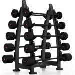 Zestaw sztang gumowanych 10-55 kg czarny połysk ze stojakiem MF-S001 - Marbo Sport