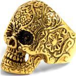 Złoty pierścień stalowy z czaszką